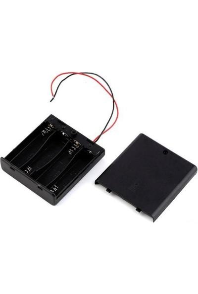 Electroon 4Lü Kalem Pil Kutusu Kapaklı Anahtarlı 4xAA