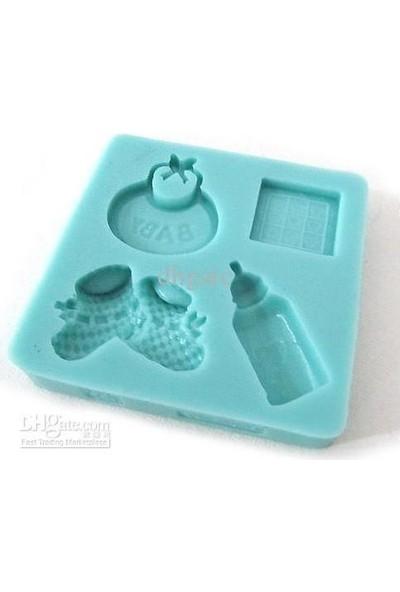 Pasta Mağaza 4 Lü Baby Set Silikon,Mum,Kokulu Taş Kalıbı