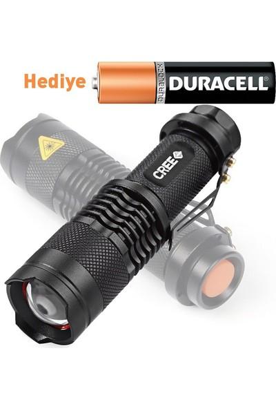 Barnetta Cree 2000 Lümen Ultra Güçlü Su Geçirmez Alüminyum Zoom Özellikli El Feneri + Duracell Pil Hediyeli