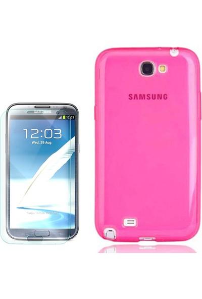 Gpack Samsung Galaxy Note 2 Kılıf 02Mm İnce Arka Kapak Silikon + Cam