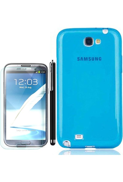 Gpack Samsung Galaxy Note 2 Kılıf 02Mm İnce Arka Kapak Silikon + Kalem + Cam