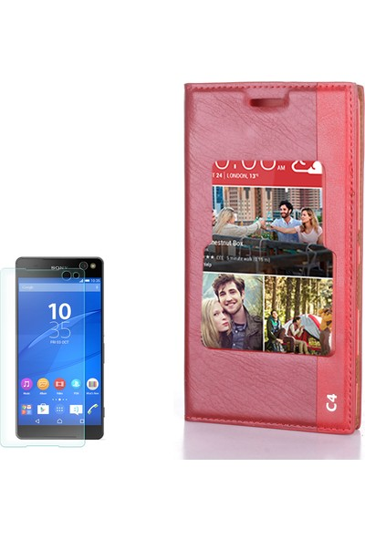 Gpack Sony Xperia C4 Kılıf Tek Pencereli Deri Kapaklı Milano + Cam