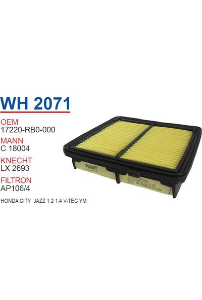 Wunder Honda City Jazz 1.2 1.4 V - Tec Yeni Model Hava Filtresi Oem No:17220 - Rb0 - 000