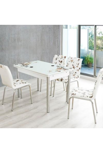 Evinizin Mobilyası Açılır Cam Mutfak Masası Masa Sandalye Kahve Çiçek Desenli(4 Sandalyeli)
