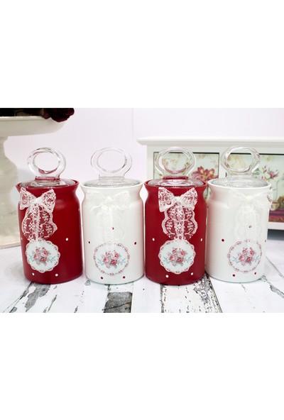 Greengate Red 4 lü Cam Baharatlık Seti Kırmızı Beyaz
