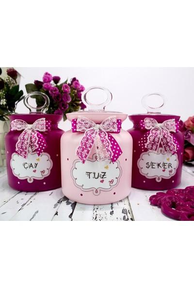 Pink Clouds Fuşya-Pembe Cam Kavanoz Seti 1 lt.