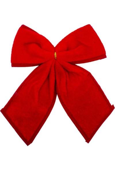 Kırmızı Kadife Fiyonk Yılbaşı Süs 24 cm