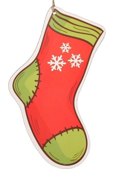 Çorap Şekilli Karton Asılabilir Süs