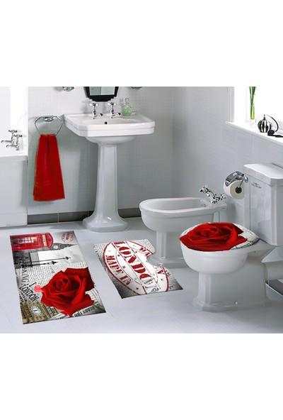 Melay Londra Ve Gül Banyo Paspas Üçlü Set