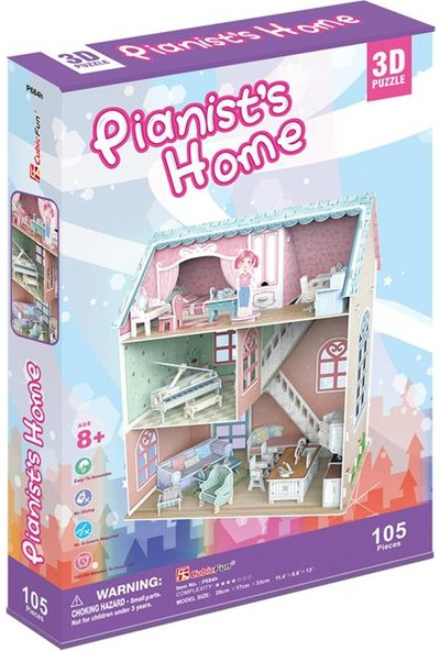 Cubic Fun 3D Puzzle 105 Parça Piyanistin Evi