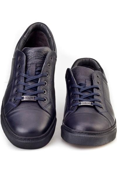 Cabani Bağcıklı Sneaker Erkek Ayakkabı Lacivert Deri