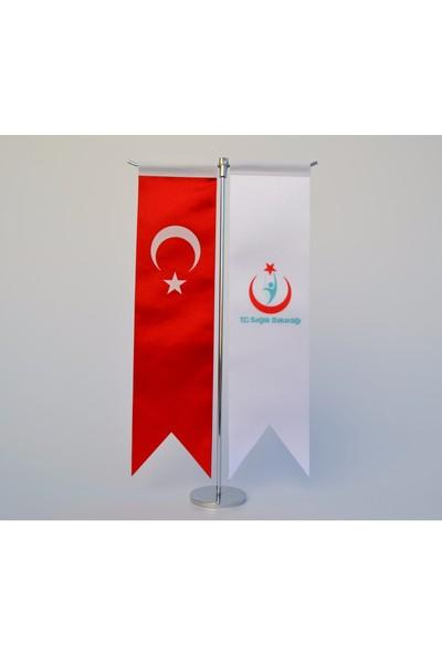 Bayrakal Sağlık Bakanlığı Ve Türk Bayrağı Kırlangıç Masa Bayrak Takımı