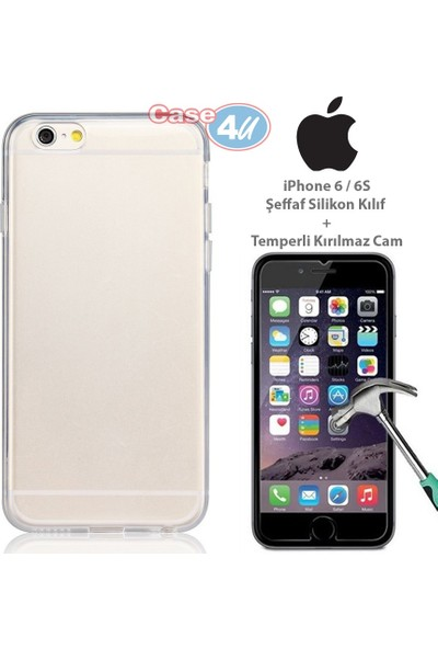Case 4u Apple iPhone 6/6S Silikon Kılıf Şeffaf + Cam Ekran Koruyucu