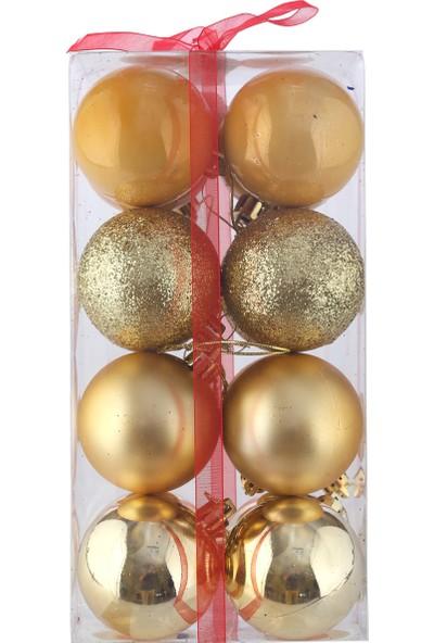 KullanAtMarket Altın Yılbaşı Ağaç Süs Seti 16'Lı 6 Cm