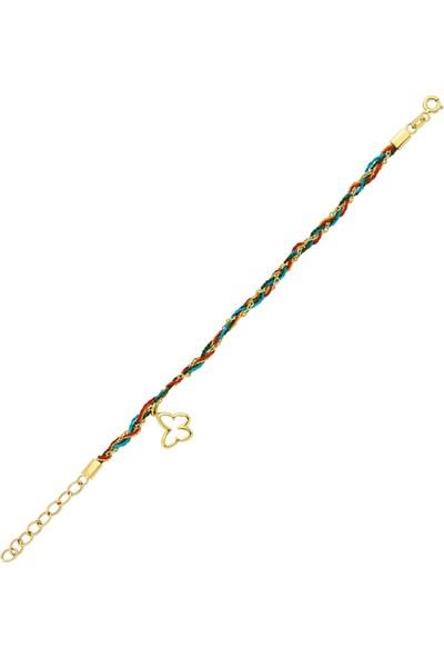 Goldstore 14 Ayar Altın Kelebekli Şans Bilekliği Gb30694