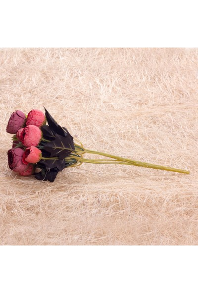 Benim Kınam Yapay Çiçek Kırmızı Bordo Şakayık Demeti 9 Ad Eren Gülleri Vardır