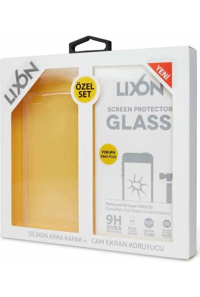 Lıxon Apple iPhone 6 Plus Cam Ve Silikon Seffaf Kılıf + Korucu Cam