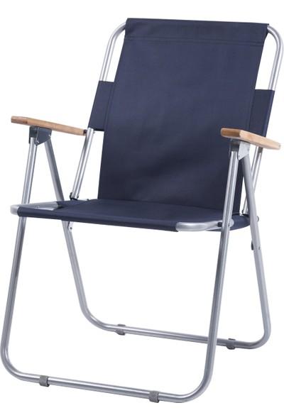 Ellnaz Ağaç Kollu Katlanır Piknik Sandalyesi Lacivert