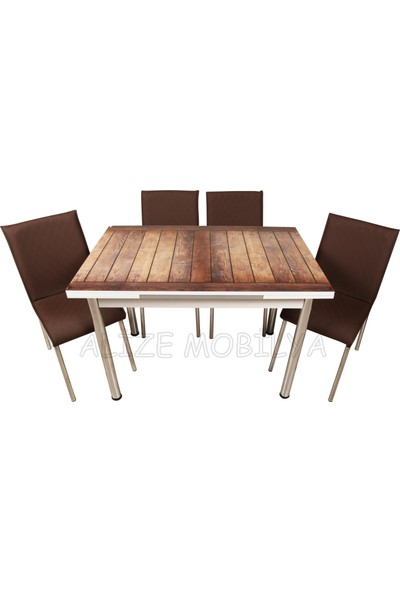 Evinizin Mobilyası Açılır Cam Mutfak Masası Masa Sandalye Düz Ahşap Desenli(6 Sandalyeli)