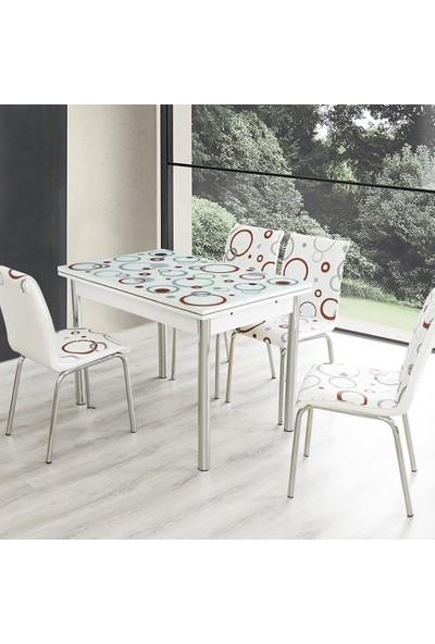 Evinizin Mobilyası Açılır Cam Mutfak Masası Masa Sandalye Bordo Halka Desenli(4 Sandalyeli)
