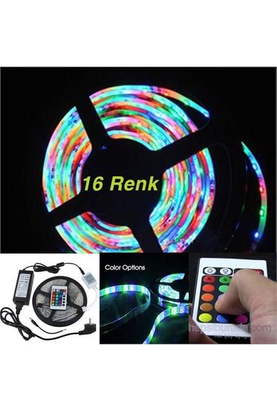 Cix 16 Renk 5MT RGB Dış Mekan Şerit Led Kumandalı +2 Amper Adaptör