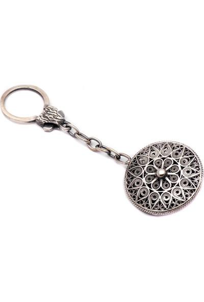 Sümer Telkari İşçilikli Elişi Gümüş Anahtarlık 22