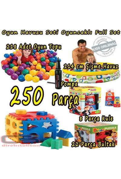 Kayıkcı Eğitici Oyuncaklı Şişme Oyun Havuzu Seti 250 Parça - Şişme Havuz + 218 Top + Oyunlar Ve Pompalı Set