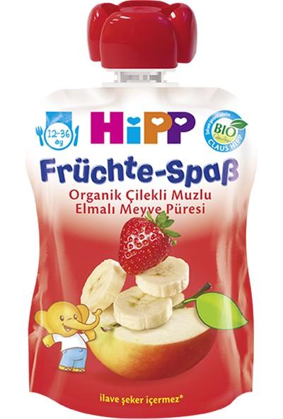 Hipp Organik Çilekli Muzlu Elmalı Meyve Püreli Kavanoz Maması 90 gr