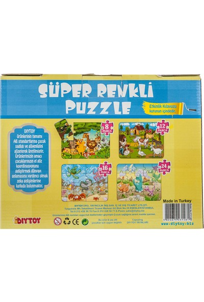 Diytoy Hayvanlar Süper Renkli Puzzle