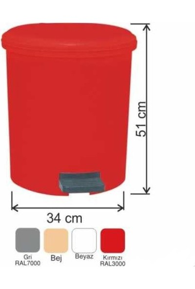 Drn Çöp Kovası Pedallı 30 Litre Kırmızı