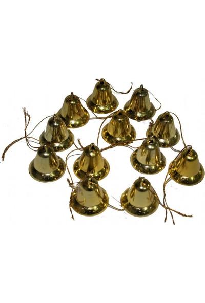 6 Adet Sarı Renkli Çan Çam Ağacı Süsü 3,5 cm