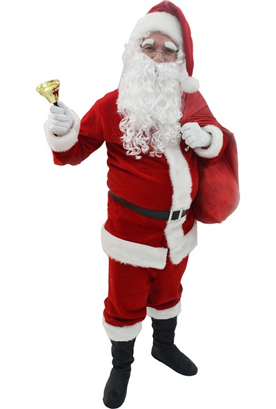 Herkese Kostüm Yılbaşı Noel Baba Yetişkin Kostüm Full Seti Medium