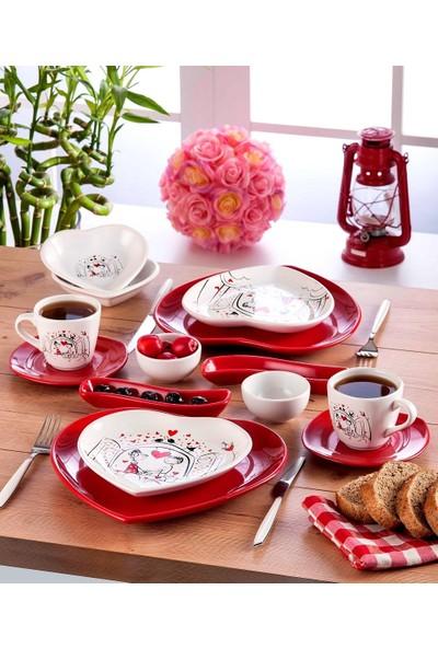 Keramika Keyfi Aşk Serisi 14 Parça 2 Kişilik Kalp Kahvaltı Takımı Beyaz004 Kırmızı 506