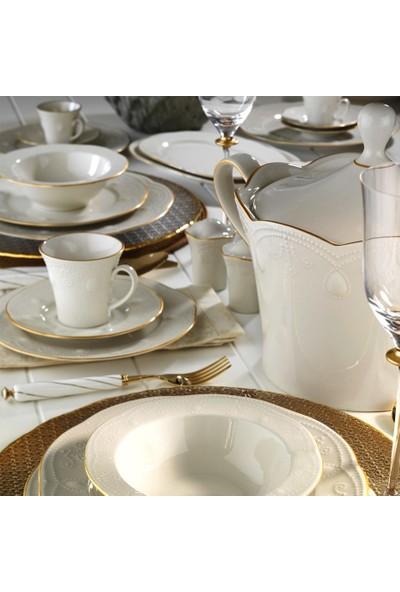Kütahya Porselen Fulya Krem Fileli 83 Parça 12 Kişilik Yemek Takımı
