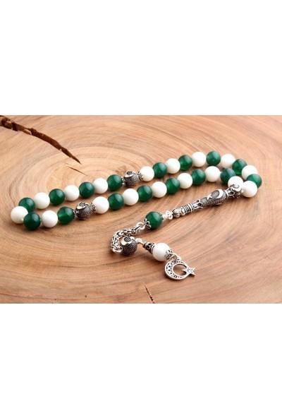 İnan Tesbih Yeşil Beyaz Doğaltaş Taraftar Tesbihi Gümüş Ayyıldız Süslemeli