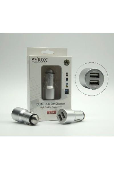 Syrox Sony Araç Çakmak Şarj Aleti, 2 Usb Çıkışlı, Hızlı Şrj - Syrox C27