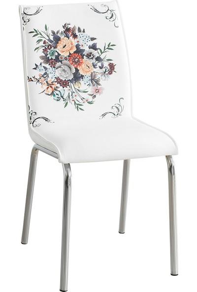 Evinizin Mobilyası Deri Pedli Sandalye Buket Desenli