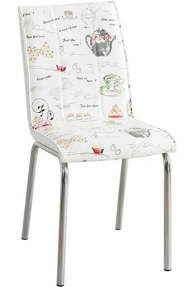 Evinizin Mobilyası Deri Pedli Sandalye Latte Desenli