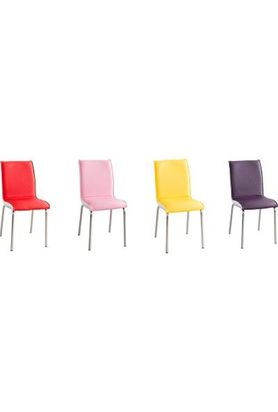 Evinizin Mobilyası Deri Pedli Sandalye Rengarenk(4 Adet)
