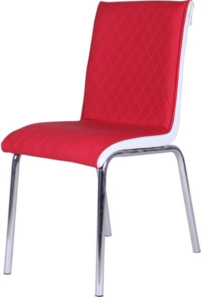 Evinizin Mobilyası Deri Pedli Sandalye Kırmızı Baklava Desenli