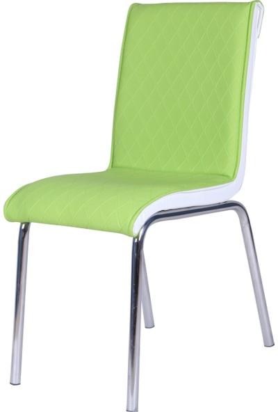 Evinizin Mobilyası Deri Pedli Sandalye Yeşil Baklava Desenli