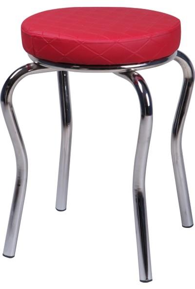 Evinizin Mobilyası Ahtapot Tabure Kırmızı Baklava Desenli