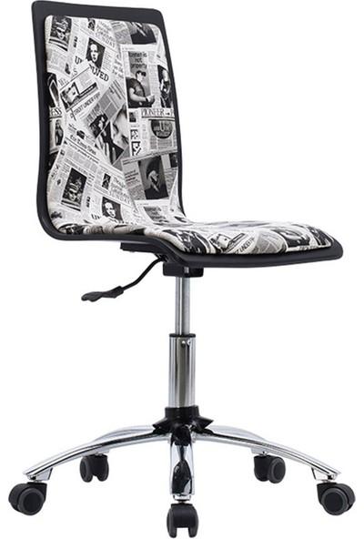 Adore Pop Art Çalışma Sandalyesi - Siyah - Beyaz