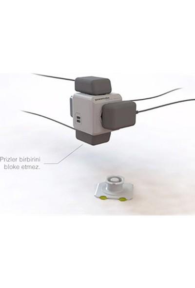 PowerCube Extended 1.5m Kablolu 4+2 USB li Akım Korumalı Grup Priz