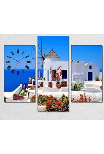 Tabloshop - Santorini 3 Parçalı Simetrik Canvas Tablo Saat - 80X60cm