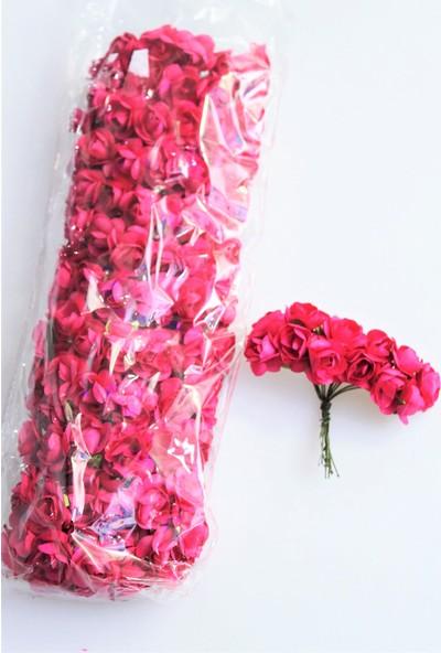 Yapay Çiçek Deposu 144lü Mini Kağıt Gül Fuşya