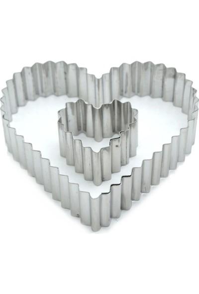 Nar Tırtıklı Kurabiye Kalıbı Kalp Modeli 2Li