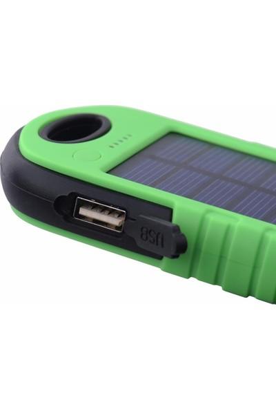 Case Leap 8000 mAh Solar Güneş Enerjili Taşınabilir Şarj Cihazı Led Işıklı Yeşil