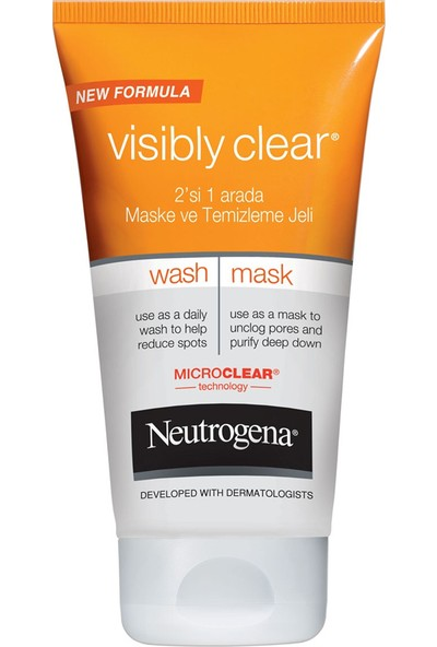 Neutrogena Visible Clean 2In1 Maske Temizleme Jeli 150Ml