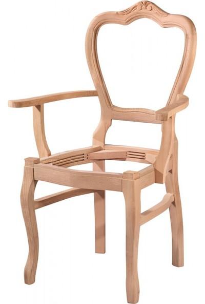 Masifart 7169 Klasik Kollu Oymalı Sandalye Cilasız Ahşap